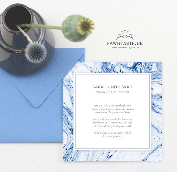 blue wedding invitation by fawntastique