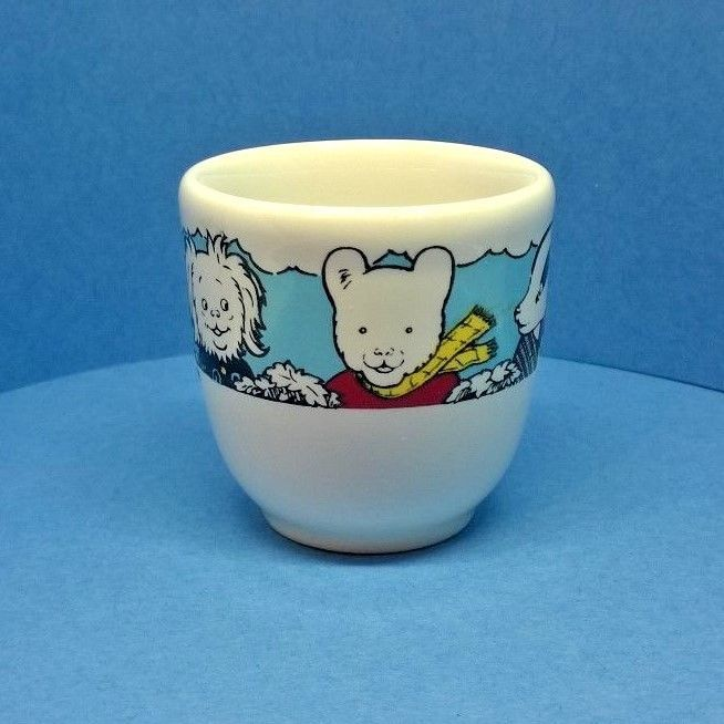 VINTAGE RUPERT BEAR AND FRIENDS COLLECTABLE EGG CUP - EXPRESS NEWSPAPERS 1991