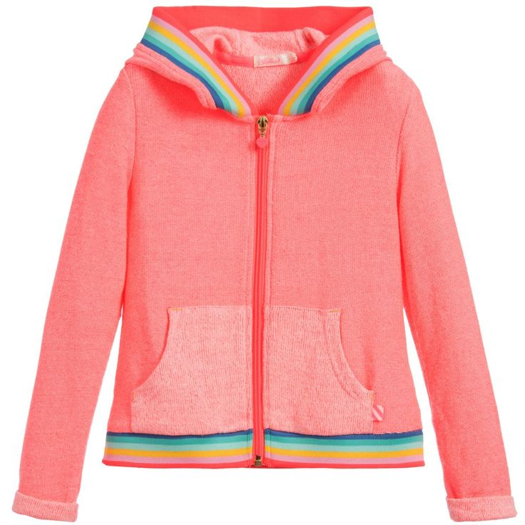 Super stretchy, this neon pink zip-up hooded top by Billieblush is made from a knitted cotton blend with rainbow striped ribbing.  Model: Height 118 cm (average age 6) Size of zip up top worn in the photo: 6 years