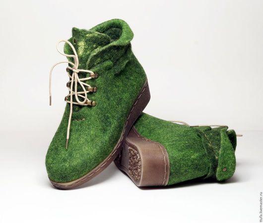 """Обувь ручной работы. Ярмарка Мастеров - ручная работа. Купить Валяные ботильоны """"Долина Мхов"""". Handmade. Зеленый, обувь из шерсти"""