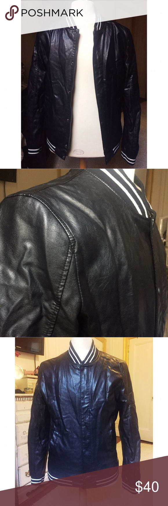 Zara man varsity jacket Zara man leather motor jacket. Zipper and snap closure. Side pockets. Size is  large but I think Zara's clothing run a bit small. Zara Jackets & Coats Bomber & Varsity