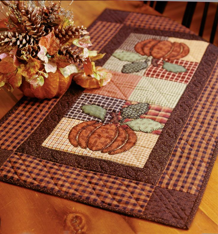 """Harvest Pumpkin"" from Thimbleberries Collection of Classic Quilts by Lynette Jensen. This easy applique table runner says ""I love autumn!"" Find it online: http://landauerpub.com/Thimbleberries-Collection-of-Classic-Quilts-Softcover.html"