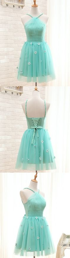 Mint Short Tulle Homecoming Dress Featuring Halter Neck Bodice With Floral Appliqués and Lace-Up Back