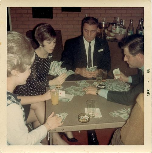 Bridge Game Night 1968. We kids would clean up the left over goodies the next morning. Bridge mix and cream pies.