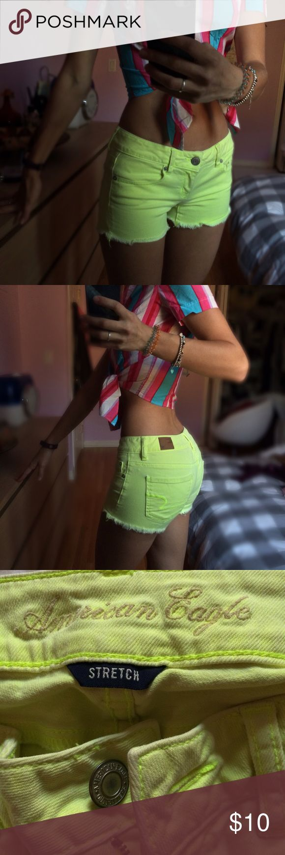 Neon yellow shorts These shorts make your tan look darker than it really is for some reason. Very comfortable to wear. Has front and back pockets. American Eagle Outfitters Shorts Jean Shorts