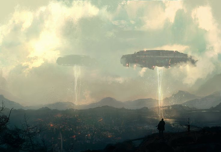 "Invasion by VictorMosquera | Digital Art / Drawings & Paintings / Landscapes & Scenery | Sci-Fi Apocalyptic Alien Invasion Extraterrestrial Spacecraft | Author's note: ""Personal concept Art. Photoshop Cs4"""