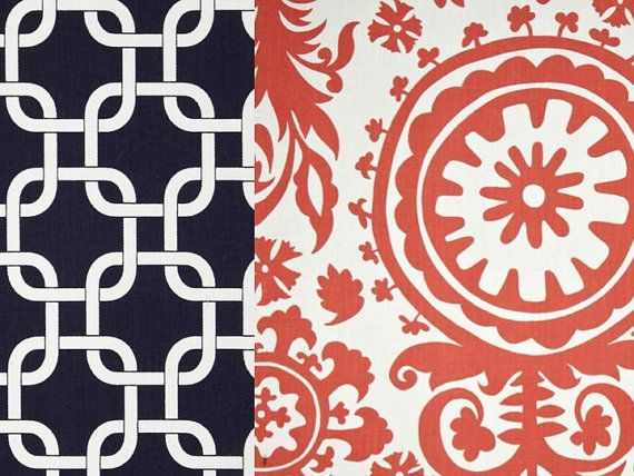 Reversible Duvet Cover Navy and Coral Dorm Twin, Twin and Full / Queen & King on Etsy, $135.00