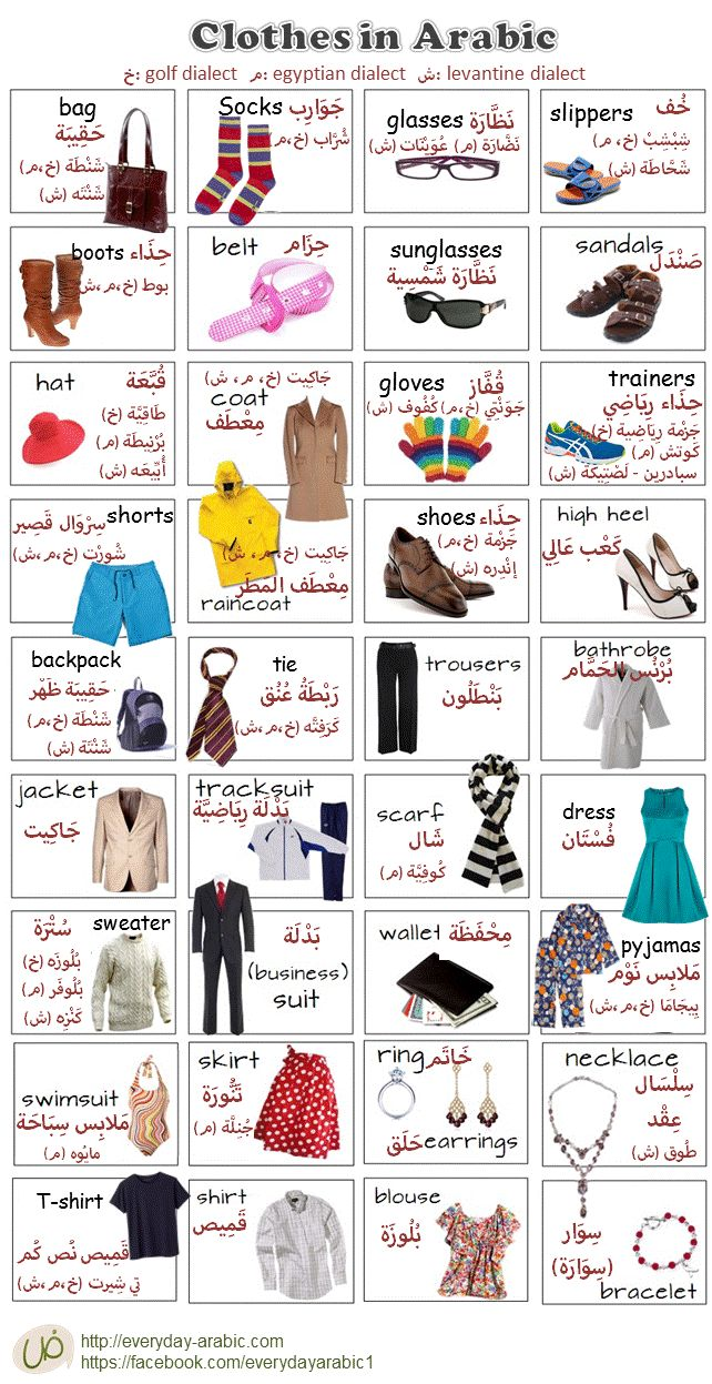 Clothes in everyday Arabic language, Gulf, Saudi dialect, Egyptian dialect and Levantine shami, Lebanon dialect with translation