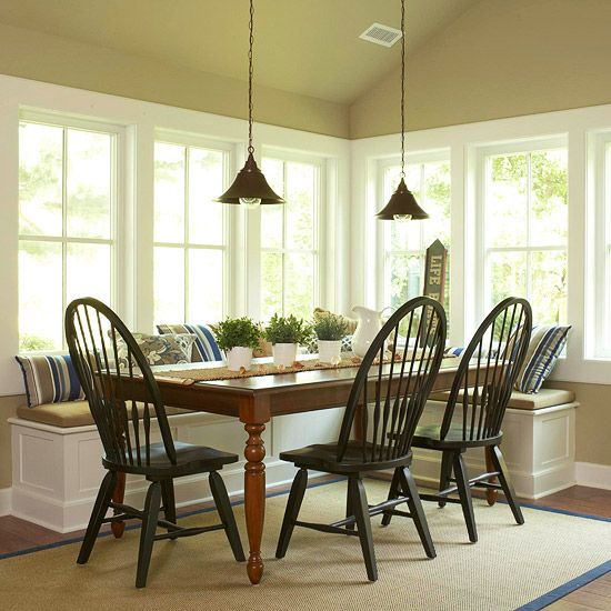 Since the dining area is connected to the kitchen, I used the same style chairs to help tie the two areas together.  It's is a favorite place for family meals and get togethers.
