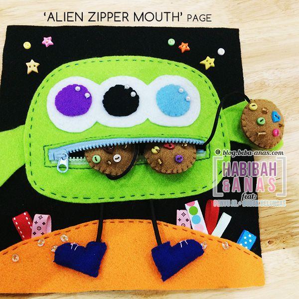 quiet book - alien zipper page
