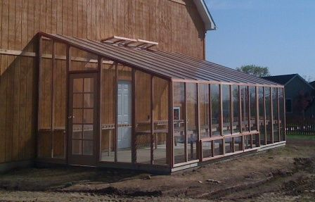 wooden lean to greenhouse made with kiln dried California redwood. With a lean to greenhouse you will have easy access from your home into your indoor garden. Locate your greenhouse where it will receive the most sunlight possible November through January.