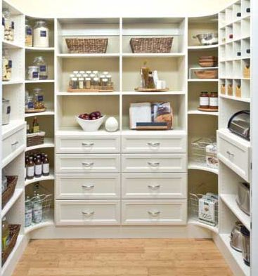 """Would like some """"counter"""" space in the pantry to make it more of a working pantry. Need electrical outlets."""