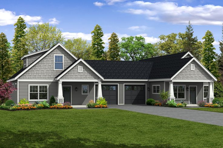 This charming cottage duplex plan has two unique units. Unit A is 1-1/2 stories and features an owners' suite and great room style living on the main floor with two secondary bedrooms and a full b