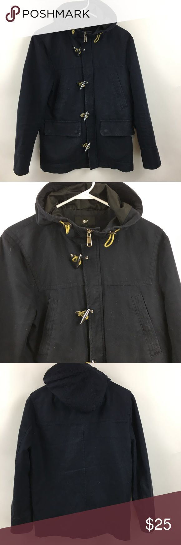 "H&M navy blue canvas jacket men's 36R In very good preowned condition from a smoke free home size 36R.  Armpit to armpit- 20"" Length from shoulder- 27"" Sleeve from armpit- 17"" H&M Jackets & Coats Military & Field"