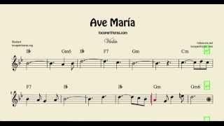 Ave María Partitura de Violín con acordes