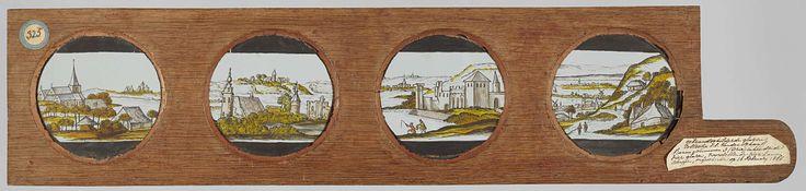 Anonymous   Vier landschappen, Anonymous, c. 1700 - c. 1790   Vier glazen in een houten vatting. Links: op de voorgrond een boerderij met hooiberg, daar linksachter een kerk. Rechts daarvan: torens en een ruine. Op de achtergrond een dorp op een heuvel. Rechts daarvan: een kasteel aan het water. Op de achtergrond twee dorpjes. Uiterst rechts: een pad en een rivier door een vallei, met verschillende dorpen en boerderijen.