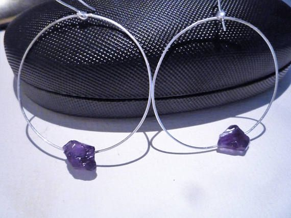 Hoop earrings Sterling silver hoop earringsAmethyst gemstone