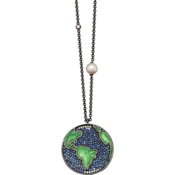 ASTLEY CLARKE Earth Western 14ct white gold, sapphire, pearl and... (215.310 RUB) ❤ liked on Polyvore featuring jewelry, necklaces, white gold chain necklace, cowboy necklace, cowgirl necklace, white gold sapphire necklace and white gold necklace
