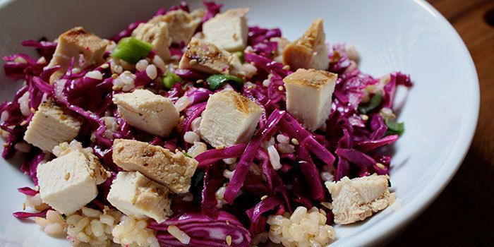 Rice Salad with Red Cabbage and Chicken - 1 green, 1 yellow, 1 red, 1/2 blue/orange