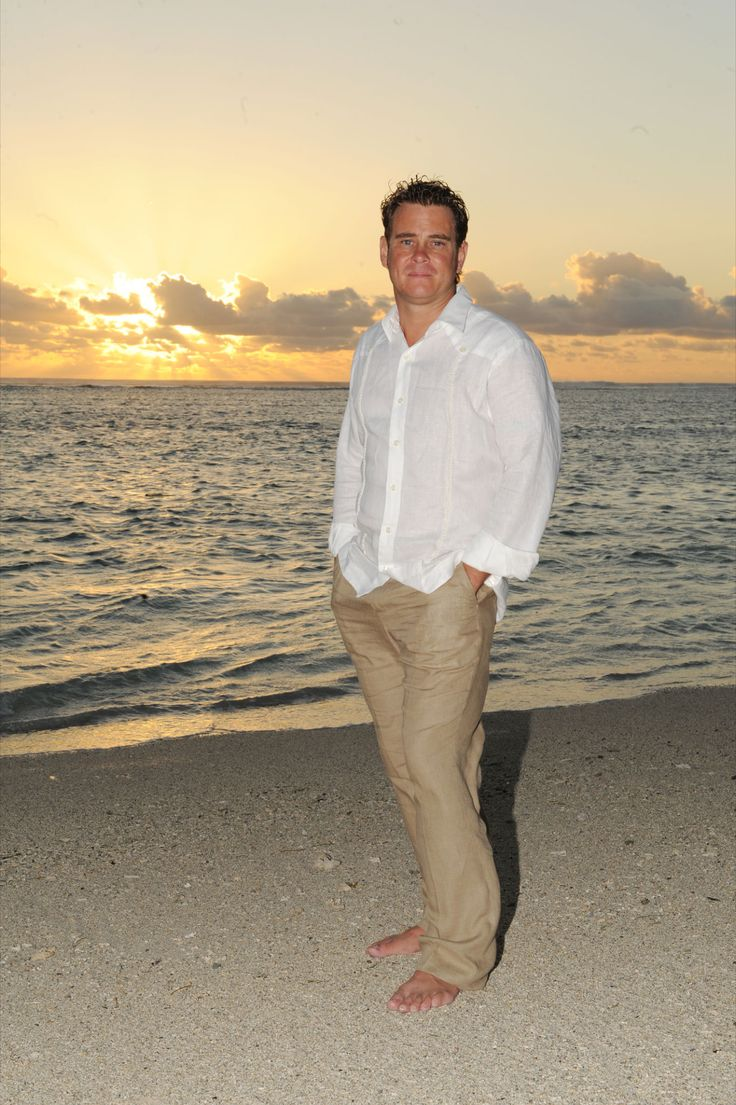 Beach wedding groom attire jay wears a debra torres for Wedding dress shirts for groom