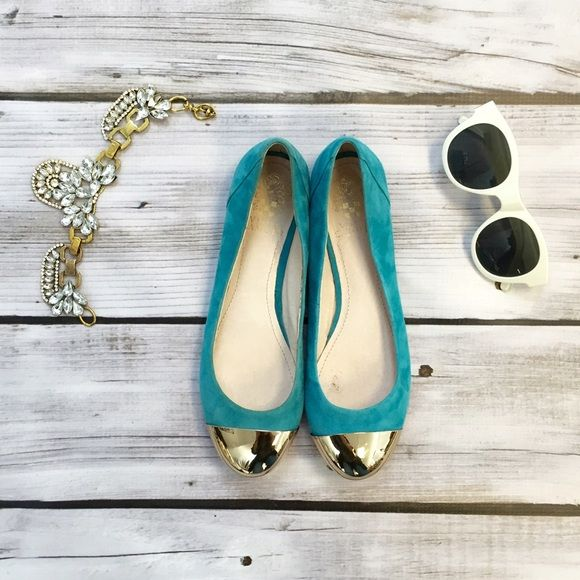 Vince Camuto Ballet Teal Flats Vince Camuto Olita 2. Suede outside. Manmade sole but leather upper and lining. Tips are gold with minor scratches from storage. Leather on inside of both shoes are discolored (see photo). Never worn. Vince Camuto Shoes Flats & Loafers