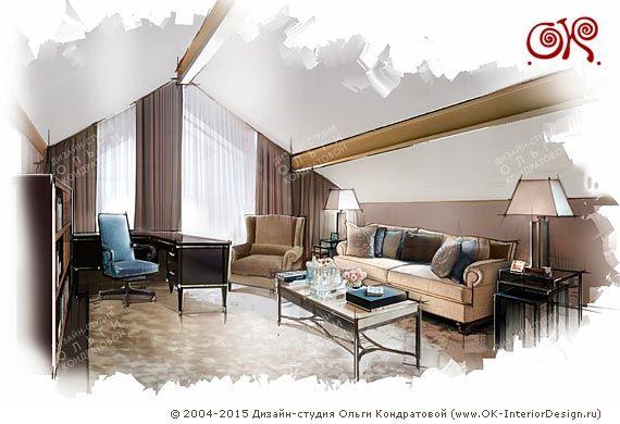 Дизайн кабинета на мансарде  http://www.ok-interiordesign.ru/blog/idei-dizayna-mansardy-v-chastnom-dome.html