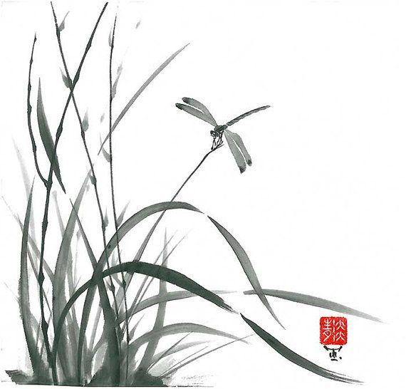 Original Art Dragonfly and grass Japanese sumi-e by ZenPresent