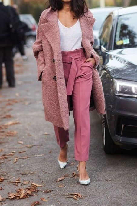 Bored with your black coat? Try something new.. Like this pink coat with high-waisted pink trousers! Check out fashion-forward styles that's going to upgrade your look and won't hurt your wallet.