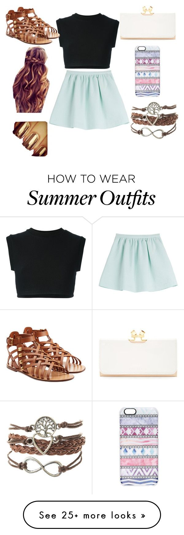 """""""Summer"""" by mikayla-kinson on Polyvore featuring adidas Originals, Tara Jarmon, Valentino, Ted Baker and Casetify"""