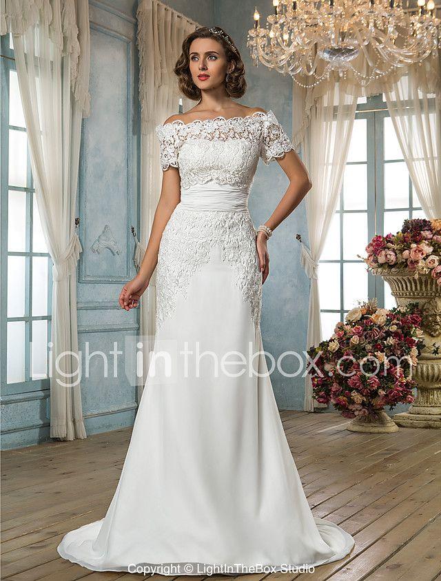 Mermaid / Trumpet Off-the-shoulder Sweep / Brush Train Chiffon Lace Wedding Dress with Sash / Ribbon by LAN TING BRIDE® 2017 - $199.99