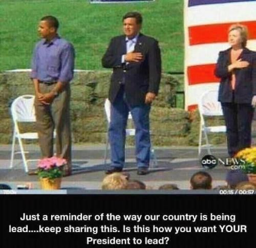Would it offend someone to place your hand on your heart and say the Pledge of Allegiance to the AMERICAN flag...I mean, you are the president of the United States of AMERICA.