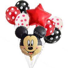 8 unids/lote Minnie Mickey Mouse head Decoración de Feliz Cumpleaños Globos de papel fuentes Del Partido 2.8g punto de la onda de Dibujos Animados Globo de látex(China (Mainland))