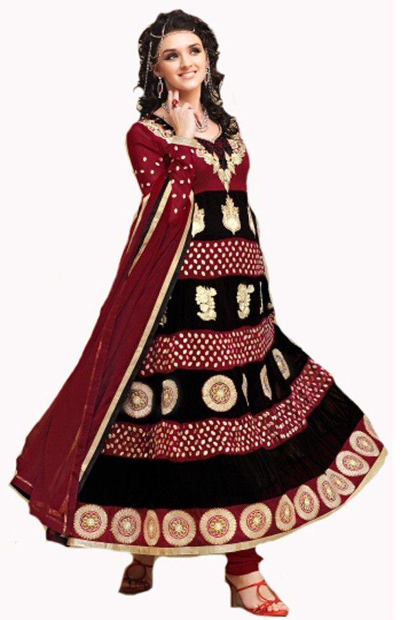 Shop Now - http://valehri.com/salwar-kameez/894-black-longe-georgette-salwar-kameez-with-dupatta.html
