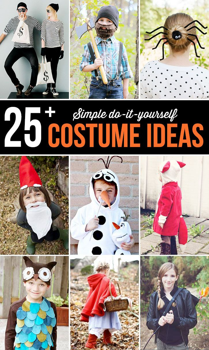 Easy, inexpensive ideas that would make great last minute costumes if you are in a pinch this Halloween!