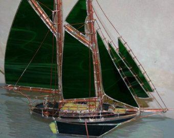 Goélette, vitraux, deux mâts, modèle bateau OOAK