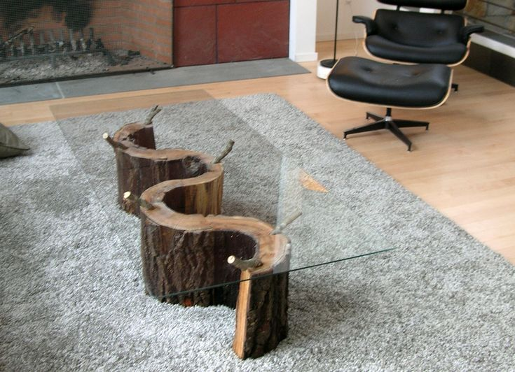 High Quality Unique Shape Dark Brown Legs Color Tree Stump Table With Rectangle Glass Top  Style With Grey Carpet Area Also Natural Wood Flooring Color Table, DIY ... Part 30