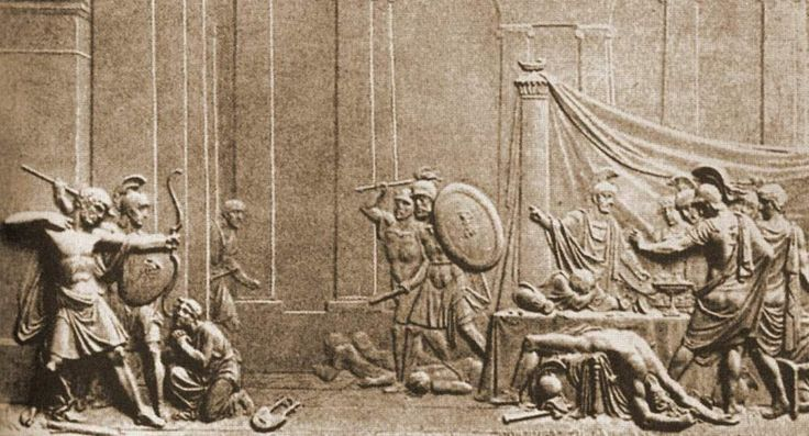 """Толстой Федор, Избиение женихов, 1814 (4 барельефа посвященных """"Одиссее"""")"""