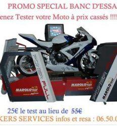 """PROMO «SPECIAL BANC D'ESSAI» Chez Bikers Services à Furiani PROMO """"SPECIAL BANC D'ESSAI"""" Du 12 AVRIL au 06 MAI !!! Nous cassons les prix : 25€ le test !! Vous voulez connaître votre puissance réelle, nombre de chevaux, couple moteur, réglages air/essence, vitesse maxi...  Alors n'hésitez plus et venez faire un Test ;) #Furiani #Bastia #moto #promo #réduction #Bikers #bancessai"""