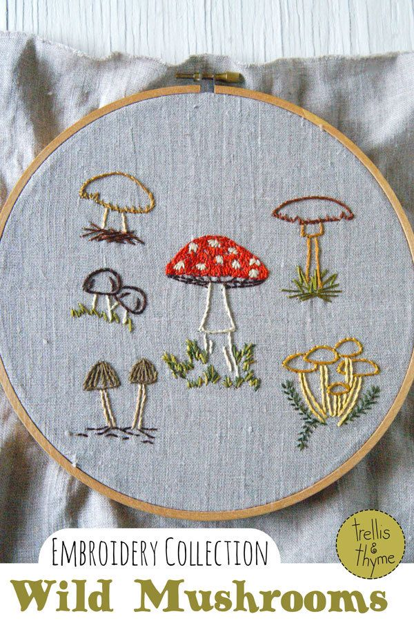 PDF Embroidery Pattern - Wild Mushrooms Botanical Embroidery Pattern Collection by sosaecaetano on Etsy https://www.etsy.com/listing/238515932/pdf-embroidery-pattern-wild-mushrooms