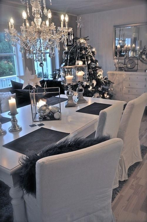 Navidad blanco negro plata chic!