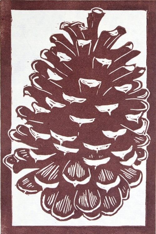 Pine Cone Linocut Relief Print On Cream Colored Japanese Kitakata Paper