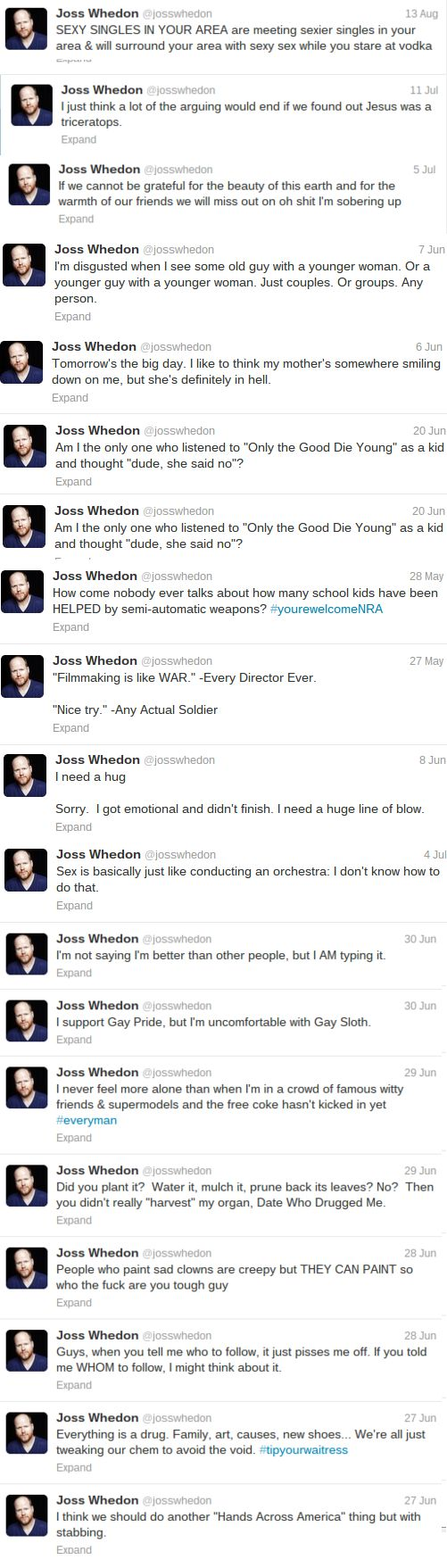 Joss Whedon on Twitter - such a scary brilliant mind....