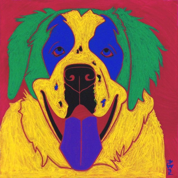 "St. Bernard Dog Art - Animal Pop Art by Angela Bond. ""My Swiss Friend"", This is a limited edition print of one of my pop art paintings. Angela Bond @ 2013 mat size - 11"" X 14"" (white mat/ standard size) print size - 7"" X 7"" high quality print using Epson heavy weight matte paper signed, titled and numbered =============================================================== www.angelabondart.com."