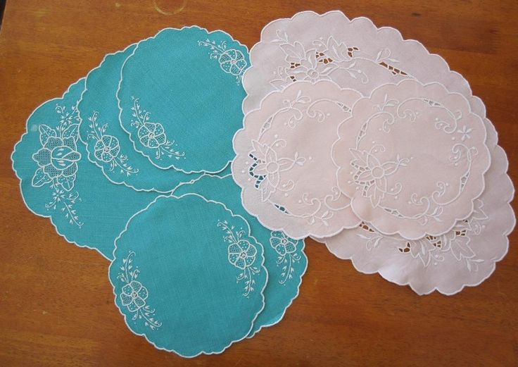 Two Sets of Vintage Doilies Hand Embroidered in Antiques, Textiles, Linens, Lace, Crochet, Doilies | eBay SELLER ID: kathy_a1