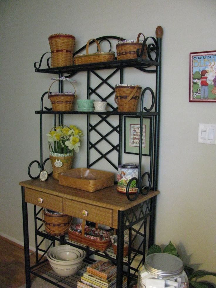 1000 ideas about bakers rack decorating on pinterest bakers rack iron decor and vignettes. Black Bedroom Furniture Sets. Home Design Ideas