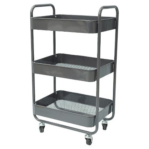 3 Tier Metal Cart With Mesh Trays Gray Room Essentials