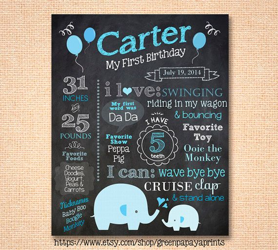 Our first birthday boys elephant chalkboard sign is customized just for your childs birthday party! Its a perfect prop for a first birthday