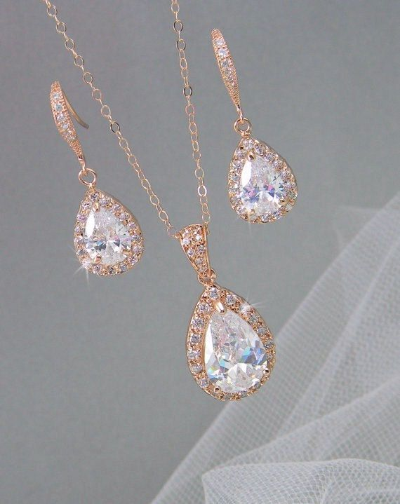 Rose Gold Bridal Set Bridesmaids Jewelry Set by CrystalAvenues, $60.00   YES!!!!!!!!!!!!!! LOVE IT!!!!!!!!!!!!!!!!!!!!!!!!!!!!!!!!!!!!!!!!!!!!!!!!!!!!!!!!!!!