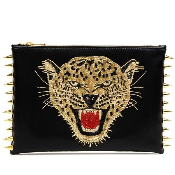 C Mpl T Unkn Wn Leopard Gold Clutch ($650) ❤ liked on Polyvore featuring bags, handbags, clutches, black, bolsos, leopard print clutches, punk purse, leopard clutches, spiked purse and leopard handbag