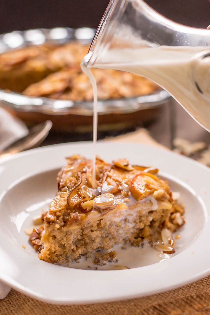 Apple, pears, and almond slices top this easy Amish Baked Oatmeal recipe. This hearty, comforting breakfast will keep you full until lunch!